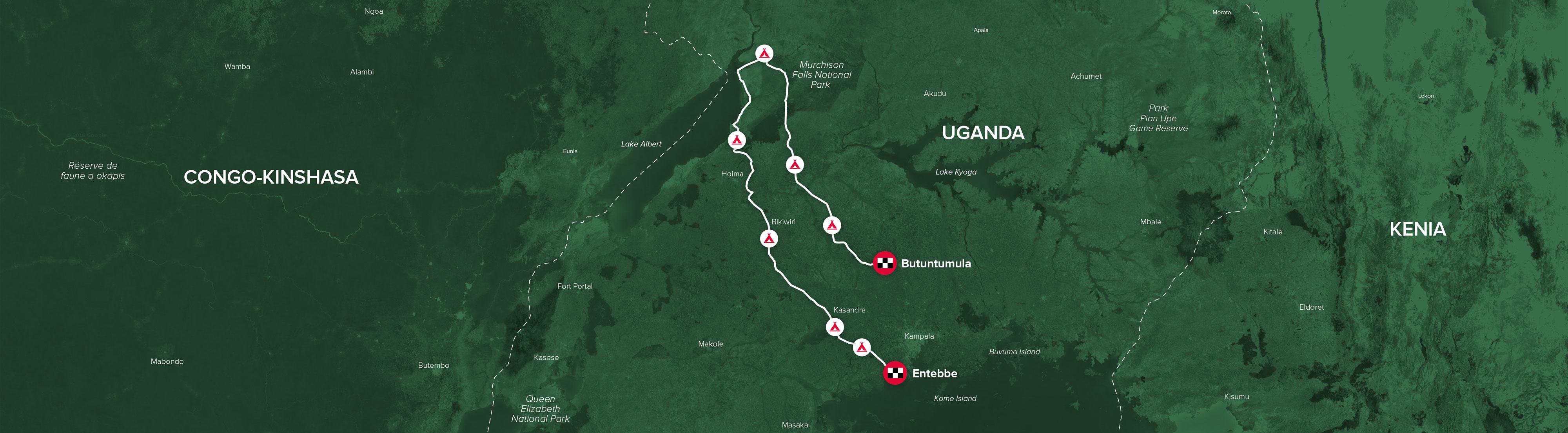 de route van Uganda Challenge