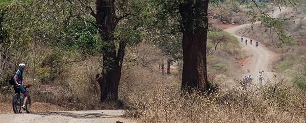 Mountainbiken door droog Afrikaans natuurgebied
